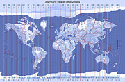 World Map Digital Art Acrylic Prints - Standard World Time Zones Acrylic Print by Carol and Mike Werner