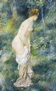 Full-length Portrait Prints - Standing Bather Print by Pierre Auguste Renoir