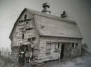 Farming Barns Drawings Posters - Standing Firm Poster by Dick  Stanton