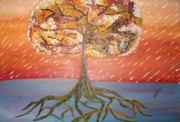 Trees Sculpture Metal Prints - Standing in the Storm Metal Print by Alexandra Torres