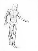 Grayscale Drawings - Standing Male Nude by Adam Long