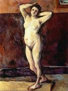 Stretching Framed Prints - Standing Nude Woman Framed Print by Cezanne