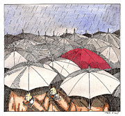 Umbrella Drawings Framed Prints - Standing Out in the Rain Framed Print by Mark Hill