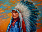 Chief Paintings - Standing Proud by Theresa Paden