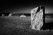 Historic Site Prints - Standing Stone At Millin Bay Cairn A Neolithic Wedge Tomb Next To The Sea In County Down Ireland Print by Joe Fox