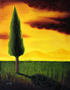 Cypress Tree Digital Art Framed Prints - Standing Tall Framed Print by Mauro Celotti