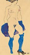 Stocking Posters - Standing woman with shoes and stockings Poster by Egon Schiele