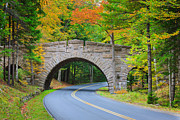 Yellow Line Photo Prints - Stanley Brook Bridge, Acadia Np, Maine Print by Proframe Photography