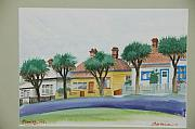 Streetscape Paintings - Stanley Cottages by Serena Valerie Dolinska