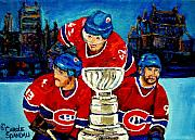 Hockey Players Paintings - Stanley Cup Win In Sight Playoffs   2010 by Carole Spandau