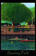 Burrard Inlet Digital Art Framed Prints - Stanley Park Scullers Poster Framed Print by Neil Woodward