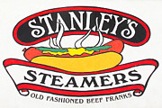 Dogs Digital Art Metal Prints - Stanleys Steamers Hot Dog Sign - 5D17929 - Painterly Metal Print by Wingsdomain Art and Photography