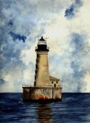 Lighthouse Drawings Framed Prints - Stannard Rock Lighthouse Framed Print by Michael Vigliotti
