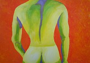 Nude Man Painting Prints - Stans Tan Line Print by Randall Weidner