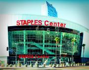 Lakers Metal Prints - Staples Center Color Metal Print by Ariane Moshayedi