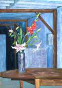 Gladiolas Painting Framed Prints - Star Gazer Lilies and Gladiolas at Linden Street Framed Print by Asha Carolyn Young