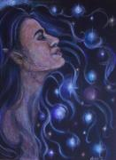 Star Pastels Framed Prints - Star Goddess Framed Print by Michelle Spragg