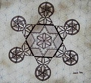 Sacred Geometry Drawings Posters - Star I Poster by Johana Toro