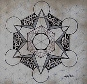 Sacred Geometry Drawings Posters - Star Ii Poster by Johana Toro