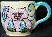Thrown Ceramics Prints - Star Kitty Mug Print by Joyce Jackson