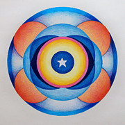 Mandala Drawings - Star Mandala by Brian  Commerford
