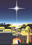 Christmas Card Digital Art Metal Prints - Star of Bethlehem Metal Print by Larry Cole