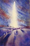 Star Of Bethlehem Painting Posters - Star of Bethlehem Poster by Marilyn Jacobson