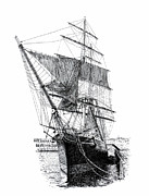Tall Ship Drawings Prints - Star of India Print by Douglas Hawks