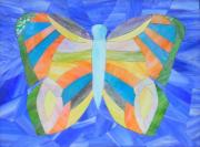 Art Glass Mosaic Glass Art Posters - Star of Persia Butterfly Poster by Charles McDonell