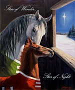 Christmas Greeting Painting Posters - Star of Wonder Poster by Jeanne Newton Schoborg