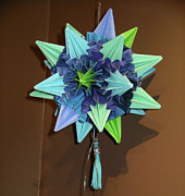 Star Sculpture Originals - Star Sea Urchin Kusadama Blue by Debbie Fimrite
