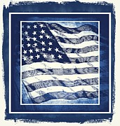 Usa Flag Mixed Media Framed Prints - Star Spangled Banner Blue Framed Print by Angelina Vick