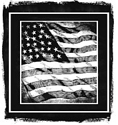 Man Cave Mixed Media Metal Prints - Star Spangled Banner BW Metal Print by Angelina Vick