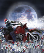 Patriotic Art Prints - Star Spangled Biker Print by Carol Cavalaris