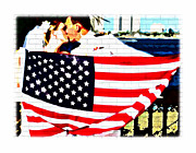 Star Spangled Wedding Kiss Print by Alice Gipson