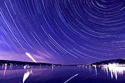 Ithaca Digital Art Posters - Star trail on Cayuga Lake Ithaca New York Poster by Paul Ge