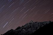 Rotation Photo Prints - Star Trails Above Himal Chuli Created Print by Alex Treadway