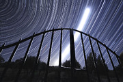 Auriga Framed Prints - Star Trails And The Intense Light Trail Framed Print by Miguel Claro