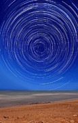 Star Trails Prints - Star Trails Around The South Celestial Print by Luis Argerich