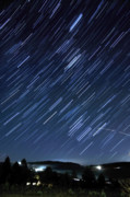 Startrails Posters - Star Trails Long Exposure At Night Poster by Evan Sharboneau