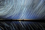 Moonlit Night Photos - Star Trails Over Lake Tyrrell, Australia by Alex Cherney, Terrastro.com