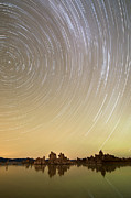 Panorama Digital Art Originals - Star Trails over Mono Lake by Marius Sipa
