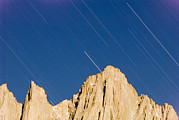 Mount Whitney Posters - Star Trails Over Mount Whitney Poster by Rich Reid