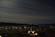 Star Trails Prints - Star Trails Over Okanagan Lake, Vernon Print by Yuichi Takasaka