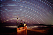 Wreck Prints - Star Trails Over Rusted Boat Wreck Print by David Nunuk
