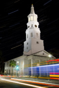 Star Trails Framed Prints - Star Trails over St Michaels Church Charleston SC Framed Print by Dustin K Ryan