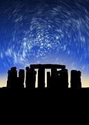 Christian Mythology Prints - Star Trails Over Stonehenge Print by Victor Habbick Visions