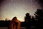Constellations Posters - Star Trails over Sugar Shack Poster by Richard Frost