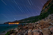 Pollux Framed Prints - Star Trails Over The Arrábida Mountain Framed Print by Miguel Claro