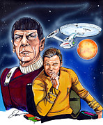 Enterprise Drawings Metal Prints - Star Trek Metal Print by Dave Olsen